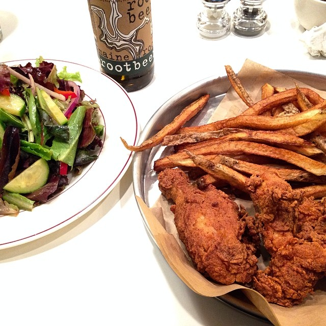 Gluten Free Fried Chicken & Fries, with a Garden Salad.  (Photo credit: jameeelizabeth on Instagram)