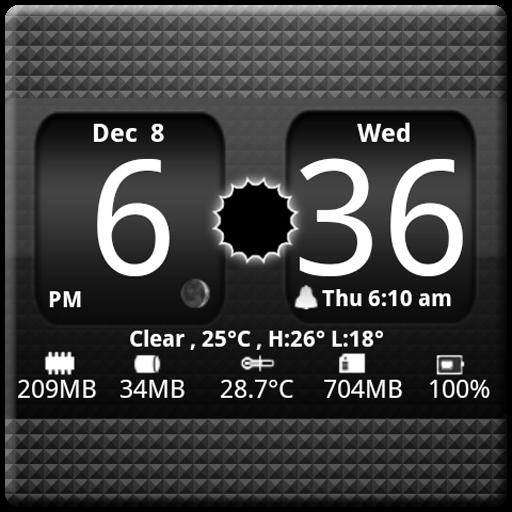 FlipClock BlackOut Widget 4x2