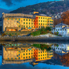 Bergen by Johannes Mikkelsen - Buildings & Architecture Other Exteriors ( bergen, water, reflection, mountain, hdr, photomatix, reflections, architecture, city, fjord, norway, urban, mountains, d800, buildings, fjords, norge, nikon, river )