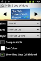 Screenshot of Call + SMS Log Widget
