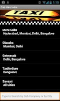 Screenshot of Taxi Cab Hire India