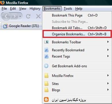 Organize Bookmarks snapshot