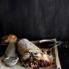 Boozy Cherry And Christmas Pudding Strudel With Chocolate