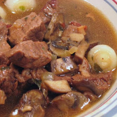 Beef Stewed in Red Wine With Pearl Onions and Mushrooms