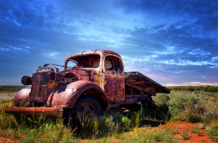 Old Truck in a field by Loredana  Smith - Transportation Automobiles ( old, truck, sunset, australia, rusty, landscape, abandoned )