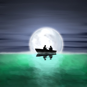 Gone Fishing by Paul Griffin - Illustration People ( time, moon, peaceful, midnight, moment, lake, fishing, early )