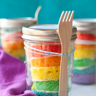Rainbow Cupcakes in a Jar
