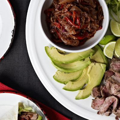 Beef Fajitas with Caramelised Onions and Sour Cream Dressing