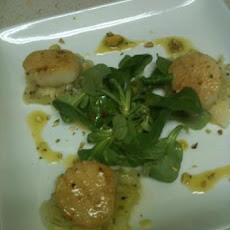 Seared Scallops With Melted Leeks and Pistachio Vinaigrette