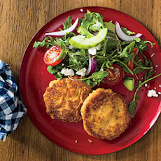 Hummus-and-Rice Fritters with Mediterranean Salad