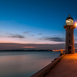 Last Light by Wen Sayshello - Landscapes Waterscapes ( water, canon, sunset, lighthouse, landscape photography, beauty, like, landscape, evening, singapore )