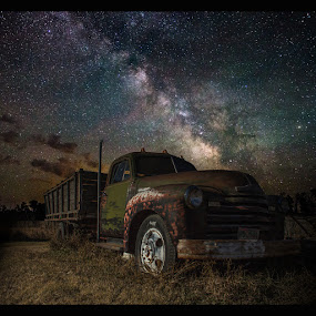 Chevy by Aaron Groen - Transportation Other ( milkyway, old, aaron groen, truck, south dakota, rusty, pick up, chevy, milky way, nightscape, sky, great rift, homegroen, stars, dark, astrophotography, night, long exposure, galactic center, air glow, galaxy )