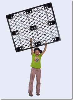 Girl lifting lightweight plastic pallet