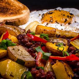 Late Breakfast by Bogdan Rusu - Food & Drink Plated Food ( breakfast, food, potato, vegetable, egg )