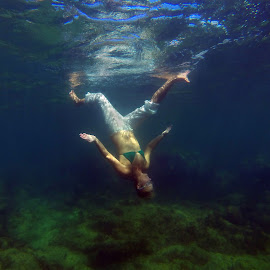 Walking underwater by Jennifer Teeter - Sports & Fitness Swimming ( exercise, humor, upsidedown, caribbean, swimming,  )