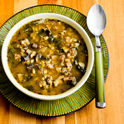 Ground Turkey and Barley Soup with Mushrooms and Spinach