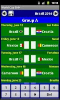 Screenshot of World Cup 2014 Fixture