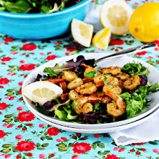 Lemon Pepper Shrimp Over Greens