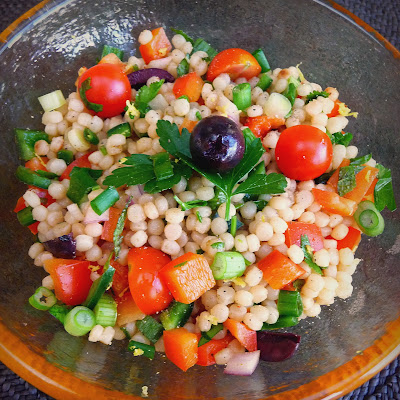 Pearl Couscous Salad with Tomatoes, Peppers, Mint and Cilantro