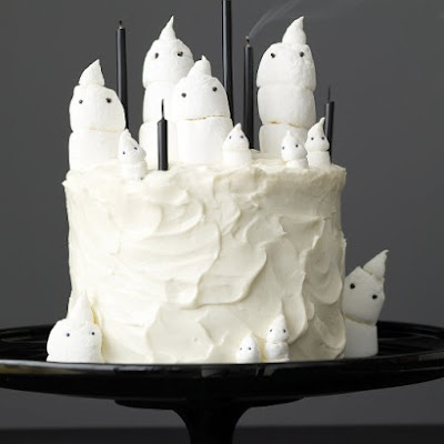 Chocolate Marshmallow-Ghost Cake and Mini Cupcakes