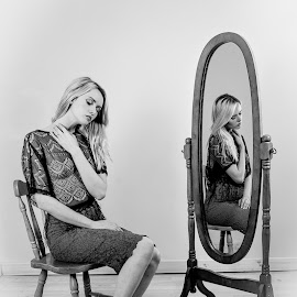 reflection by Peter McLean - Nudes & Boudoir Boudoir ( mirror, chair, lace, blonde, sitting, thoughtful )