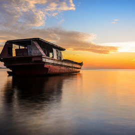 Towards the sun by Dhan Nikon Art - Transportation Boats ( nature, ship, sunsets, beach )