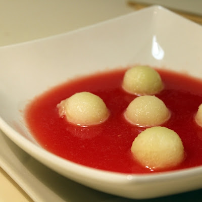 Cold Watermelon Soup with Melon Balls