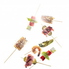 Ham, Cheese, and Pickle Skewers