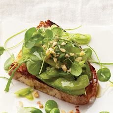 Avocado, Celery, and Scallion Bruschetta with Mache
