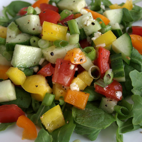 Chopped Vegetable Salad & Citrus Garlic Dressing