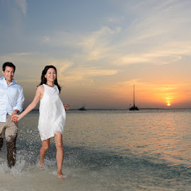 Sunset run! by Andrew Morgan - Wedding Bride & Groom ( love, happy, sunset, sea, paradise )