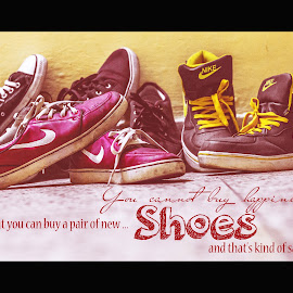 Shoe Obsession by Pushpendra Yadav - Typography Captioned Photos ( shoes, obsession, converse, reebok, chuck taylor, nike )