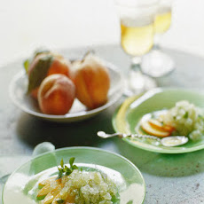 Basil Granita with Peaches