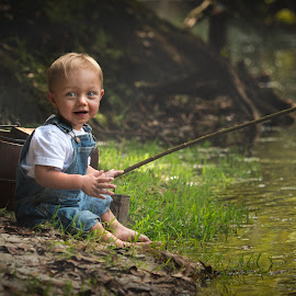 The New Fisherman by Jody Johnson - Babies & Children Child Portraits ( vintage, little boy, blue eyes, fishing, outside, river )