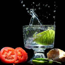A fresh start by Dipali S - Food & Drink Fruits & Vegetables ( splash, diet, chilies, appetizing, nature, fresh, drink, lemonade, vegetarian, ingredient, water, healthful, ginger, green, delicious, health, tomatoes, edible, tasty, nutrition, food, sliced, healthy, freshness, eat, harvest, vegetable, natural, lemon )