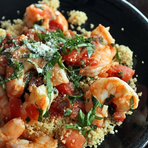 Simple Skillet Shrimp Over Whole Wheat Couscous for 1