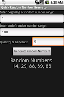 Screenshot of Quick Random Number Generator