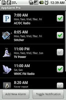 Screenshot of AppAlarm LITE