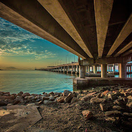 Below Penang Bridge Wait For Sunrise by Lim Louis - Buildings & Architecture Bridges & Suspended Structures