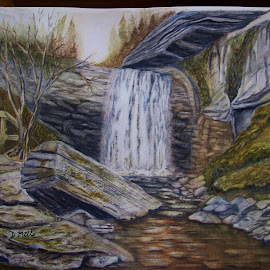 looking glass falls by Delores Mills - Painting All Painting