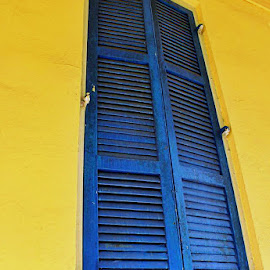 Shuttered Window in French Quarter by Tara Bauman - Buildings & Architecture Other Exteriors ( window shutters, new orleans, exterior, blue, french quarter, yellow, shutters )