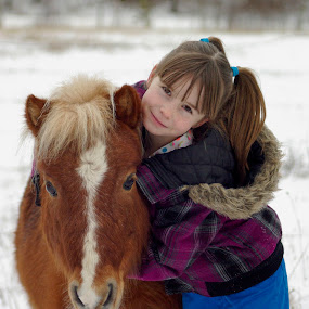 Friends by Giselle Pierce - Babies & Children Children Candids ( little girl, girl, winter, snow, horse, miniature )