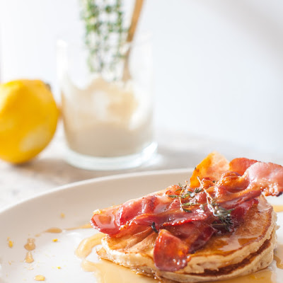 Lemon And Blueberry Ricotta Pancakes With Thyme Bacon