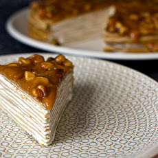 Banana Crepe Cake with Yogurt and Walnut Butterscotch