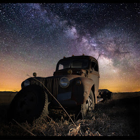 Abandoned  by Aaron Groen - Transportation Automobiles ( truck, stars, abandoned, milky way )