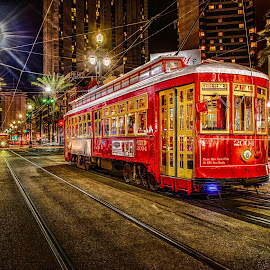 New Orleans Canal Street Street Car by Sheldon Anderson - City,  Street & Park  Street Scenes ( new orleans, red, canal street, night photography, street car, night, street scene )