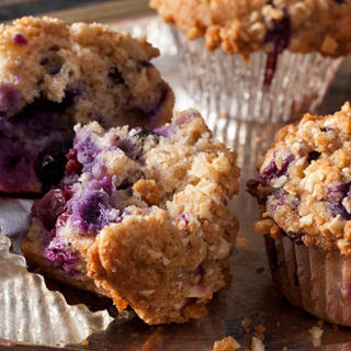 Whole-Wheat-and-Almond Blueberry Muffins with Streusel Topping