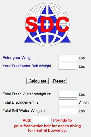 Scuba Weight Belt Calculator