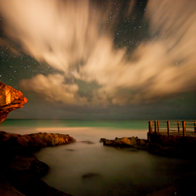 Stars over Tulum by Cristobal Garciaferro Rubio - Landscapes Waterscapes ( tulum sea shore, starscape )