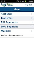 Screenshot of Lake Trust Mobile Banking